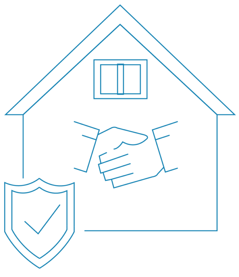 House and a handshaking icon as a sign of good relationship between builders and a trade person with check mark. Preventing building dispute in Sydney, New South Wales | Contracts Specialist