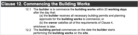 Commencement date on building works for HIA Contract