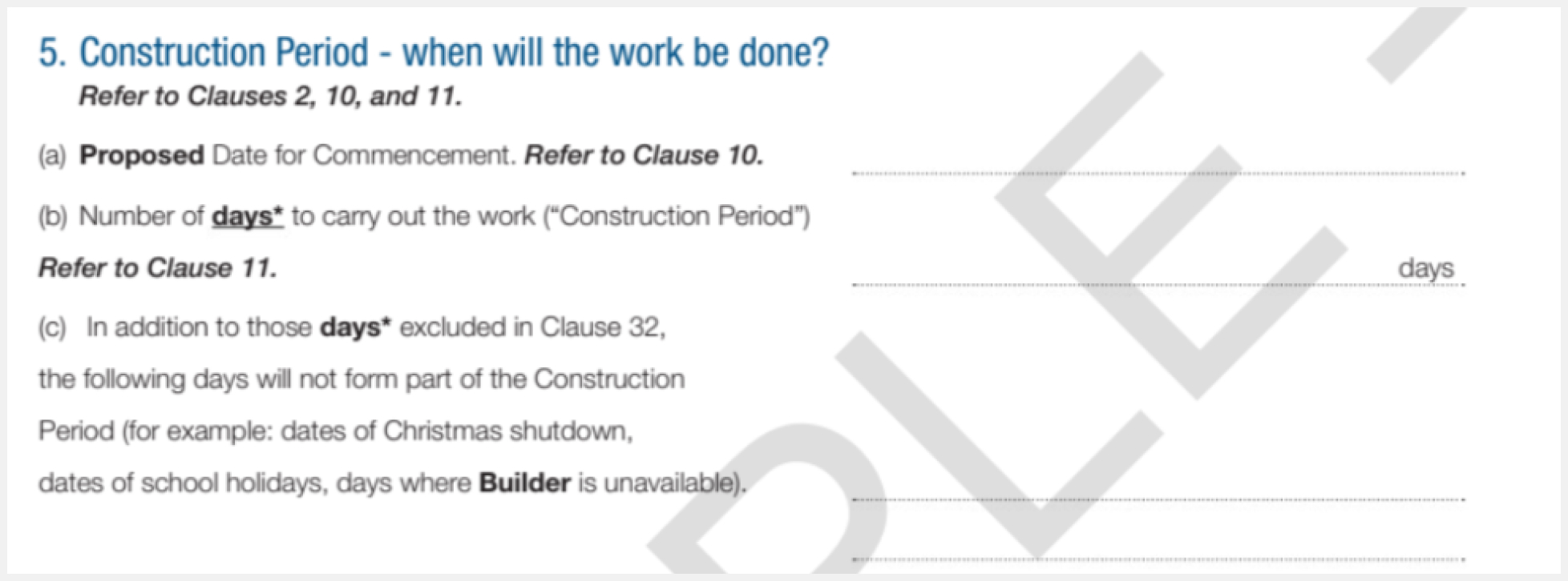 contract terms commencement of work