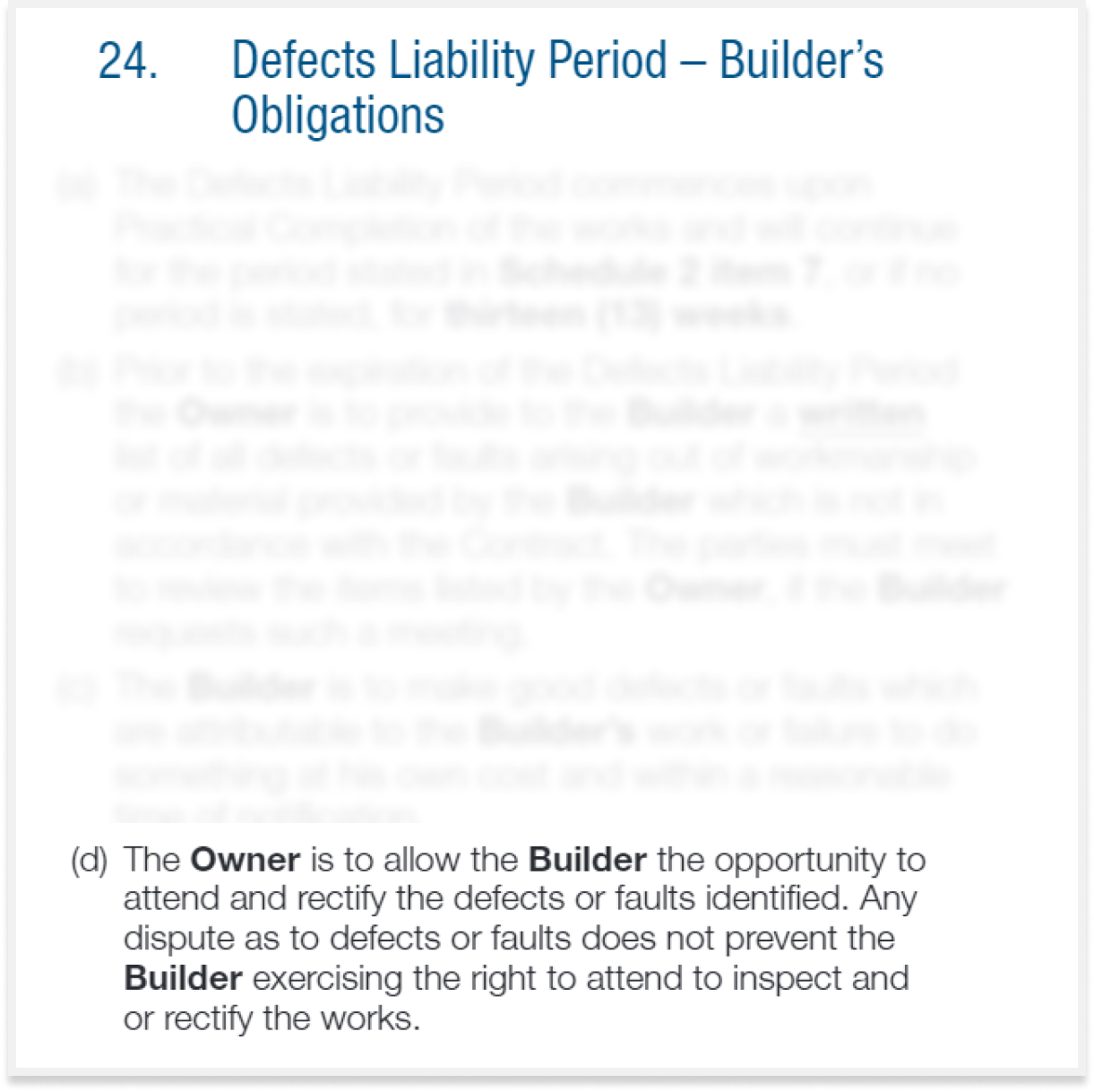 defects liability period NSW