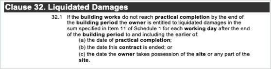 Liquidated Damages on HIA Contract