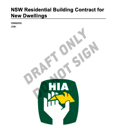 NSW Residential Building Contract for New Dwellings