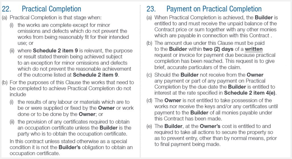 payment on practical completion NSW