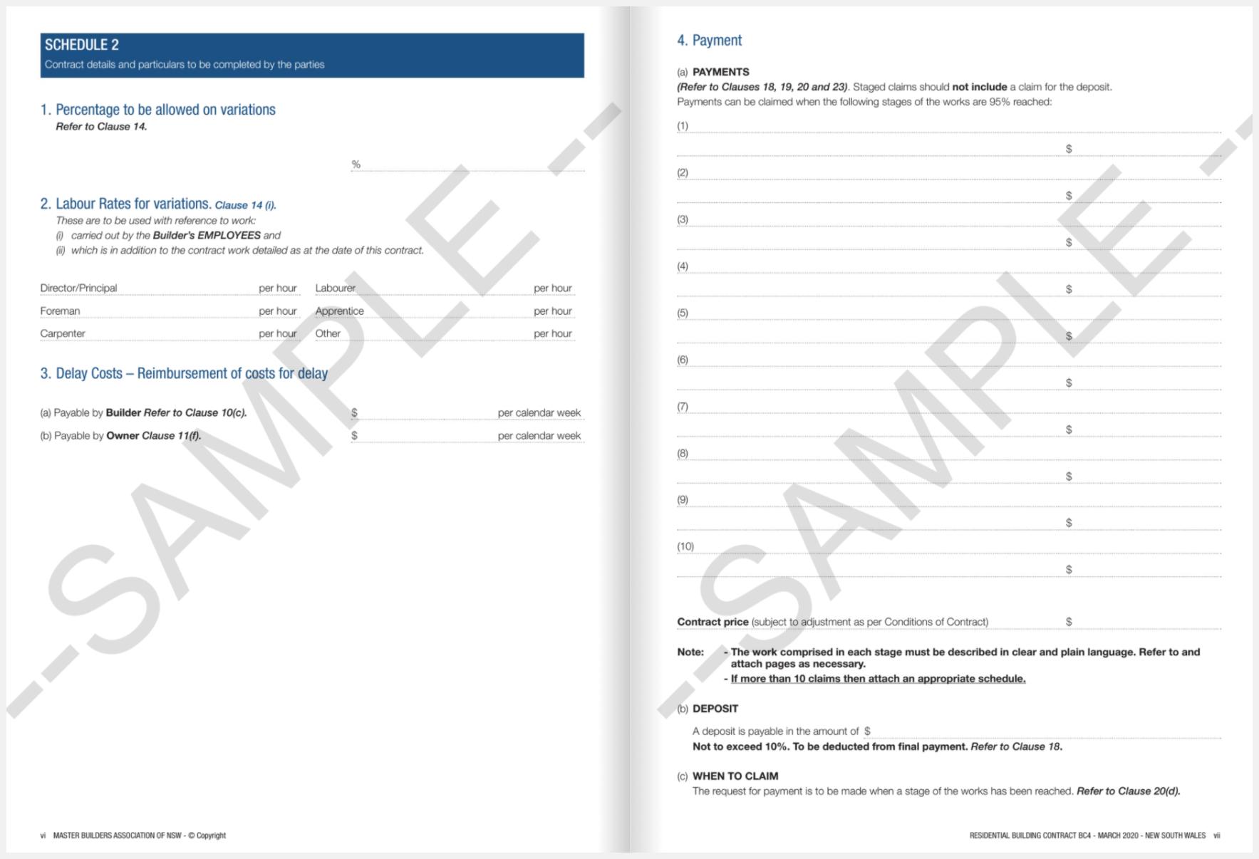 progress payment schedule template NSW