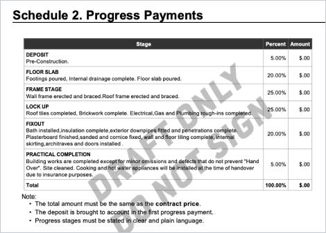 HIA Building Contract Progress Payments
