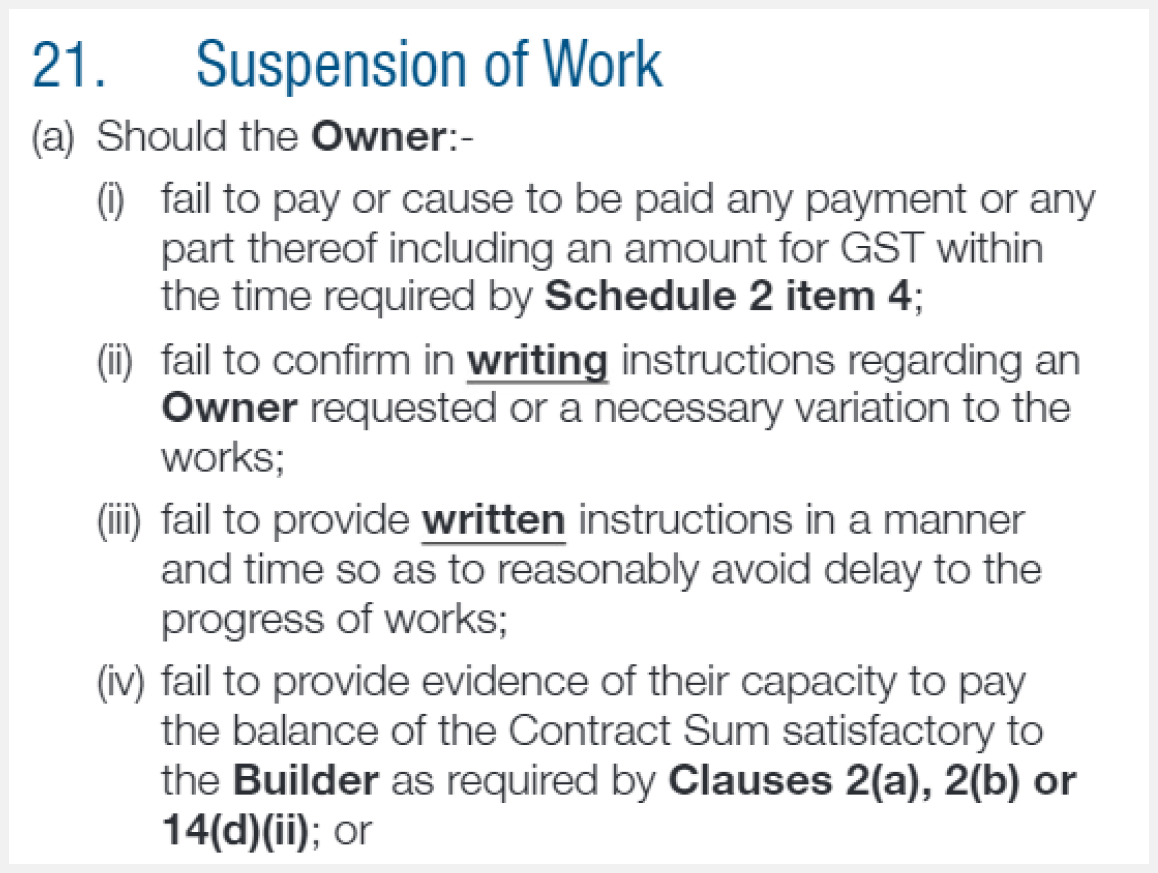 suspension of work clauses nsw