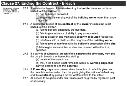 HIA Contract Termination Clause