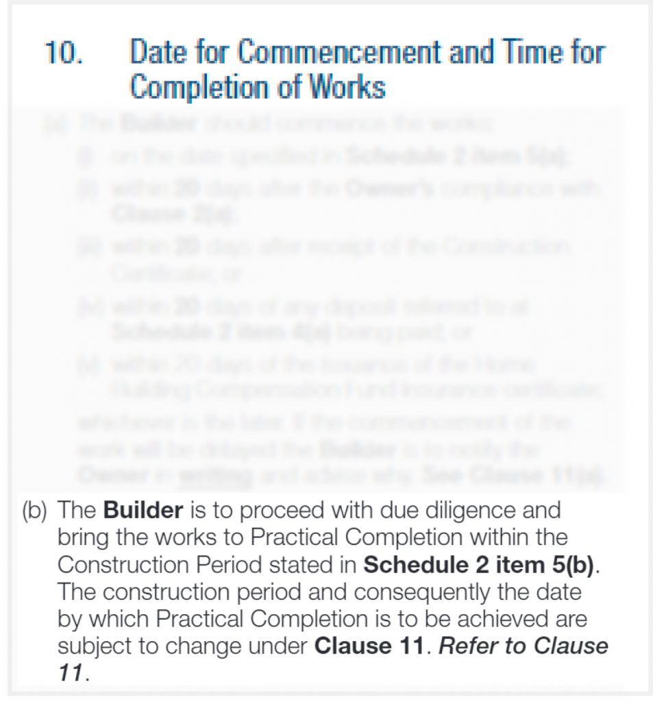 time for construction completion NSW