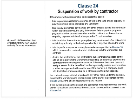 suspension of work by contractor clause
