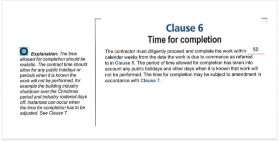 OFT Time for completion clause