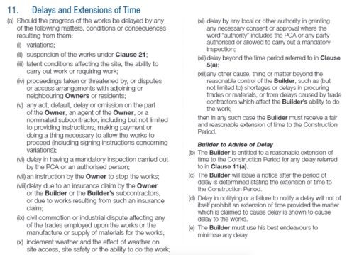 extension of time building contract NSW